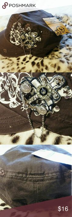 NWT Angela and William cadet cap hat brown Adorns!! Elastic back, bling-and-a-chain, Distressed chocolate brown. Angela and William  Accessories Hats