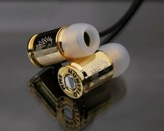 Munitio Gold Bullet In-Ear Headphones Bullet Shell, Bullet Art, Guns And Ammo, Cool Stuff, Stuff To Buy, Things I Want, Geek Stuff, Bling, My Love