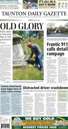The front page of the Taunton Daily Gazette for Friday, May 20, 2016.