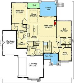 Marvelous House Plan with Optional Lower Level - floor plan - Main Level New House Plans, House Floor Plans, Floor Framing, Modern Ranch, Roof Detail, Large Family Rooms, Floor Layout, Ranch Style Homes, Roof Plan