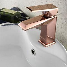 Contemporary Rose Gold Finish Single Hole Single Handle  Brass Bathroom Sink Taps
