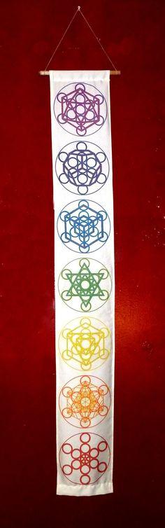Sacred Geometry Fruit of Life Platonic Solid Chakra Tapestry -100% Organic Cotton Sateen - Unique Visionary Wall Art - Black Light Luminous!