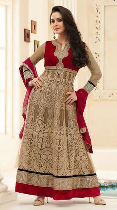 Preity Zinta Khaki Brown Full Embroidered Bollywood Salwar Kameez YS930863