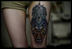 Totem Tattoo http://tattooideas123.co.uk/wp-content/uploads/2013/11/Totem-Tattoo.jpg http://tattooideas123.co.uk/totem-tattoo/ #Animaltattoos, #Legtattoos