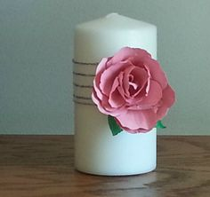 White candle with elaborate handcrafted paper by WindOnThePrairie, $16.00