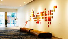 LARGE art installation 'San Francisco Sunset'   Geometric Custom Art Painted Wood Wall Sculpture   Original Corporate Art by Rosemary Pierce