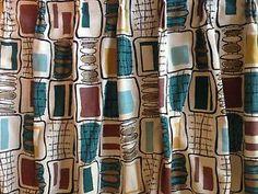 Vintage Retro Atomic Mid Century Geometric Barkcloth Fabric Curtain Panel   eBay #FloralCurtains
