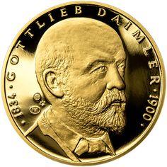 GOTTLIEB DAIMLER - 180. VÝROČÍ NAROZENÍ ZLATO Gottlieb Daimler, Maybach, Personalized Items, Coins, Coining