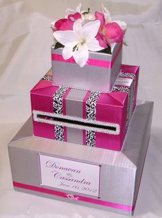 Silver and Fuchsia Elegant Custom Made Wedding Card Box-any design / color Wedding Gift Card Box, Gift Card Boxes, Wedding Boxes, Wedding Cards, Diy Wedding, Wedding Gifts, Wedding Reception, Wedding Venues, Wedding Invitations