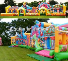 Giant Inflatable Bouncing House Fun City with Barrier Bouncy House, Bouncy Castle, Kids Birthday Themes, Event Planning Business, Company Picnic, Water Slides, Outdoor Projects, Outdoor Fun, Kids Playing