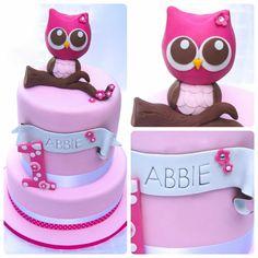 gateau-anniversaire-thematique-bébé-fille-hibou-mignon-rose