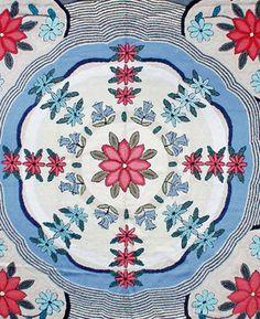 Vintage rugs european american hooked rag blue botanical geometric bb1095 12x10