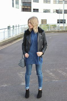 double denim, leather jacket and ankle boots on fashion blogger
