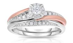 image for 1/3 CTTW Diamond Bridal Set in 10K Rose & White Gold