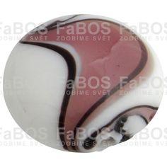 Vinuté korálky Korálek vinutý růžovo bílá čočka - FaBOS