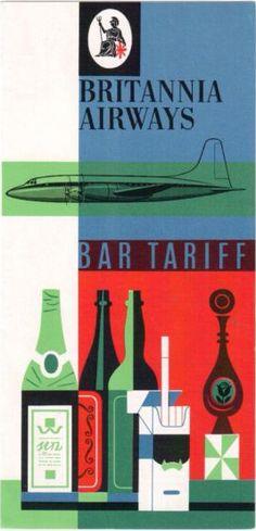 Mid century Britannia Airways Bar Tariff menu