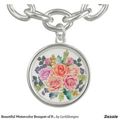 Beautiful Watercolor Bouquet of Pink Peach Roses Charm Bracelet