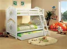 Furniture of america Isabella iii white finish wood twin over twin bunk bed with flower and heart motif Safe Bunk Beds, Bunk Bed Sets, Girls Bunk Beds, White Bunk Beds, Trundle Bed With Storage, Bunk Beds Built In, Twin Bunk Beds, Kid Beds, Girls Bedroom