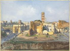 The Arch of Titus and the Temple of Venus and Rome near the Roman Forum by Ippolito Caffi