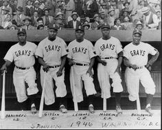 "The 1946 Washington-Homestead Grays ""Murderers' Row"", from left, Sam Bankhead, Josh Gibson, Buck Leonard, Dave Hoskins and Jerry Benjamin."