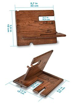 Wood Phone Holder, Wood Phone Stand, Woodworking Furniture, Woodworking Crafts, Woodworking Plans, Diy Wood Projects, Wood Crafts, Support Portable, Handmade Desks
