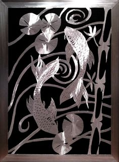 Japanese Koi Fish Metal Wall Art Silver Or Caramel Copper