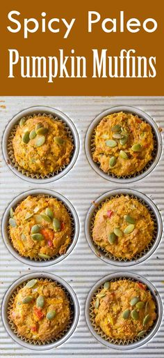 These Spicy Paleo Pumpkin Muffins are grain-free and vegetarian. Perfect grab-and-go breakfast!