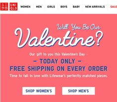 Uniqlo - Will You Be Our Valentine? Email Newsletter Design, Email Newsletters, Work Inspiration, Uniqlo, Email Marketing, Falling In Love, Graphics, Man Shop, Ads