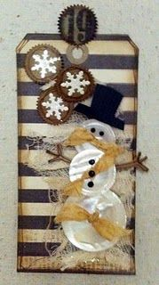 Button Snowman Tag