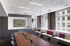 Corporate conference room with built-in banquette