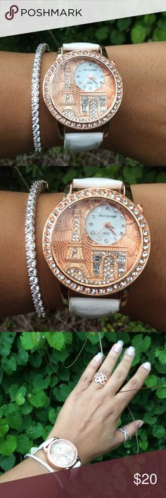 Beautiful Watch With Design of Paris Very attractive time piece with Paris adorned with cubic zirconia rose gold color. All jewelry shown is available for sale get a better value when you bundle. Accessories Watches