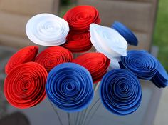 12 Red White and Blue Patriotic Paper Flowers  by Scrappuchino