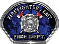 Firefighter EMT Fire Fighter, EMS, Rescue Helmet Face Decal Reflective in Inferno Blue Real Flames