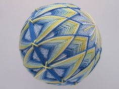 Decorative ball home decor - hand embroidered - japanese temari thread ball…