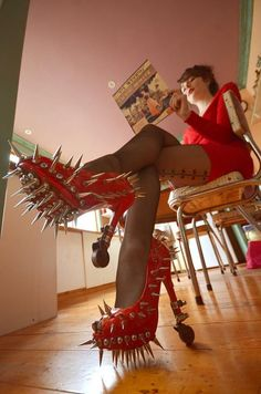 Red High Heels Shoes With Spikes Fashion Fail - Faxo Red High Heel Shoes, Shoes Heels, Pumps, Stilettos, Fashion Fail, Weird Fashion, Nail Fashion, Crazy Heels, Funny Shoes