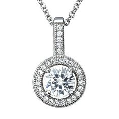 Found at TJ Maxx for just $22 on clearance! SCORE! Crislu Silver Clear CZ Round Cluster Pendant 909505N16CZ -- $220
