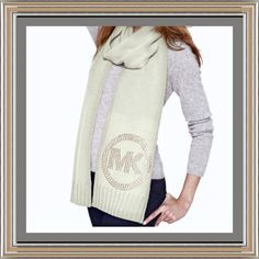 Michael Kors Scarf & Matching Hat  Beautiful blinged matching  set with studded signature scarf and hat, cream and gold. Scarf is approx 72 by 8 inches.  100% acrylic. Hand wash.  Keep warm in style!  ❗️No Trades❗️ MICHAEL Michael Kors Accessories Scarves & Wraps