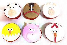 Cupcakes Fazendinha - Lindos e saborosos  para decorar a sua festa. Cobertura e decoração: pasta americana. Massa: baunilha ou chocolate. Recheio: Doce de leite.