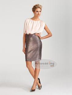 Two Toned Satin Mini Mother of the Bride or groom Dress