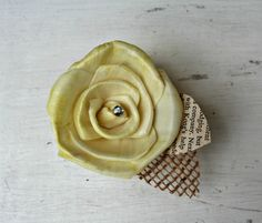 Hand Dyed Yellow Sola Wood Rose - Burlap, Vintage Book Page, Natural, Shabby Chic Wedding - or, Corsage, Boutonnniere, Cake Topper. $15.00, via Etsy.