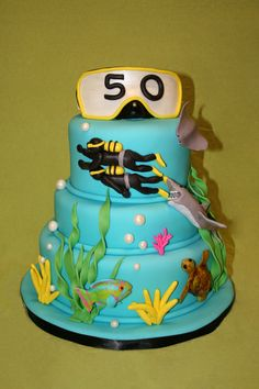 like the ocean cake - Baking Inspirations - - Ocean Cake - Best Cake Recipes Scuba Cake, Fondant Fish, Ocean Cakes, Nautical Cake, Cake Central, Best Cake Recipes, Dream Cake, Just Cakes, Specialty Cakes