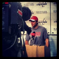 Photo by washingtoncaps - Braden Holtby speaks with the media at Kettler Capitals Iceplex
