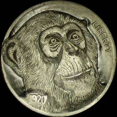 Dick Sheehan - Monkey - Coin: 1920-P Ch F Seed Art, Hobo Nickel, Coin Art, Old Coins, Monkeys, Animal Drawings, Art Forms, Metal Art, Sculpture Art