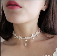 handmade ivory white Lace Victorian Wedding Bridal choker Gothic Vintage style necklace with length adjustment WXL0425