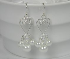 Bridal Pearl Dangle Heart Earrings,Bridesmaid Gift White Pearl Dangle Earrings Heart Dangle Earrings Silver Pearl Bridesmaid Earrings -E15 by BridalTreasures4U on Etsy