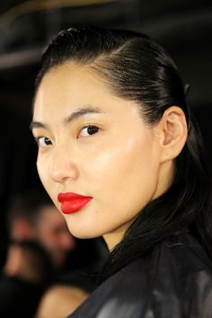 This is a shade that never gets old, whether it's worn bright, sheer, matte or glossy. Makeup artists went the more classic route this season, with Old Hollywood red lipstick making an appearance at shows like Burberry, Missoni and a matchy-matchy lips-nails combo at Zac Posen. For a modern, youthful vibe, wear vintage-y lips with a touch of mascara and slightly dewy skin.