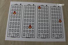 Werkblad thema brandweer. Laat de kleuters een ladder knutselen die zo lang is, dat de brandweerman bij de brand kan. *liestr* Ambulance, Preschool Activities, Fire, Math, Carnival, Firefighters, Fire Department, Superheroes, Math Resources