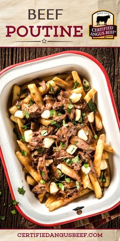 The best Beef Poutine recipe with easy slow cooker roast beef and gravy. Make this classic comfort food for a hearty family meal or delicious game day feast. Best Roast Beef Recipe, Best Beef Recipes, Roast Recipes, Ground Beef Recipes, Drink Recipes, Delicious Recipes, Beef Appetizers, Appetizer Recipes, Poutine Recipe