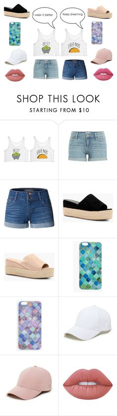 """""""Taco Friends"""" by trendystylist101 ❤ liked on Polyvore featuring Paige Denim, LE3NO, Boohoo, Sole Society, Lime Crime, fun, BestFriends and coordinated"""