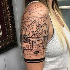Blackwork Landscape Half Sleeve Tattoo by David Mushaney # Blackwork Landscape Half Sleeve . - Blackwork Landscape Half Sleeve Tattoo by David Mushaney # Blackwork landscape half sleeve tattoo - Diy Tattoo, Custom Tattoo, Get A Tattoo, Line Work Tattoo, Tattoo Small, Half Sleeve Tattoos Designs, Best Sleeve Tattoos, Tattoo Sleeve Designs, Quarter Sleeve Tattoos